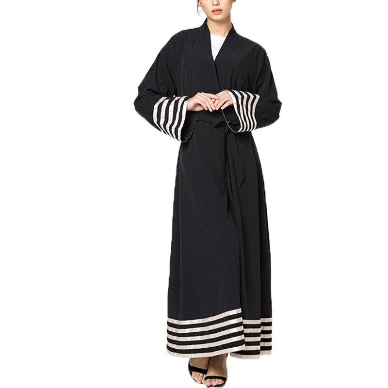 Malaysia Dubai Cardigans abaya Muslim women loose plus size outerwear gowns with slim sashes Female tunics 5XL Black R332