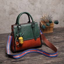 купить 2019 Vintage Real Genuine Leather Handbag Luxury Handbags Women Bags Designer Female Crossbody Bag For Women Shoulder Bag Ladies дешево