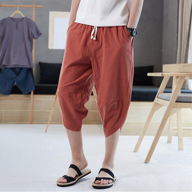 #4552 Sommer Baumwolle Leinen Harem Hosen Männer Lose Kalb-länge Casual Vintage Plus Größe 5xl Chinesischen Stil Baumwolle Leinen Hosen