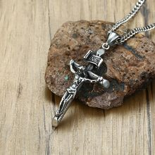Vantage Mens Crucifix Necklace Ancient Silver Stainless Steel Italian Chain Male Charm Cross Pendant Jewelry(China)