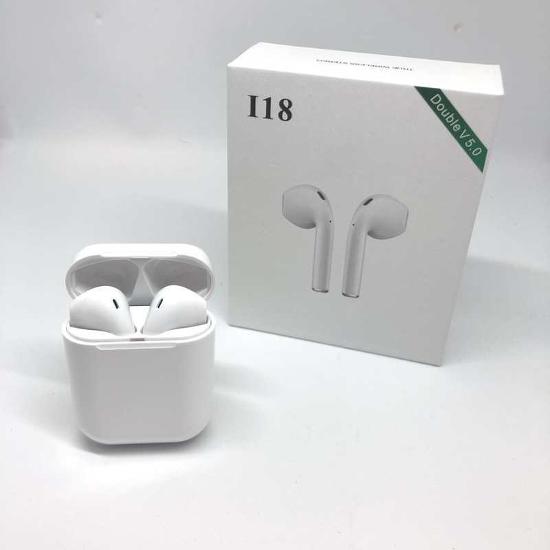 <font><b>I18</b></font> <font><b>tws</b></font> Wireless <font><b>earphone</b></font> Smart touch earbuds bluetooth 5.0 headset sport support wireless charging with MIC for all smart phone image