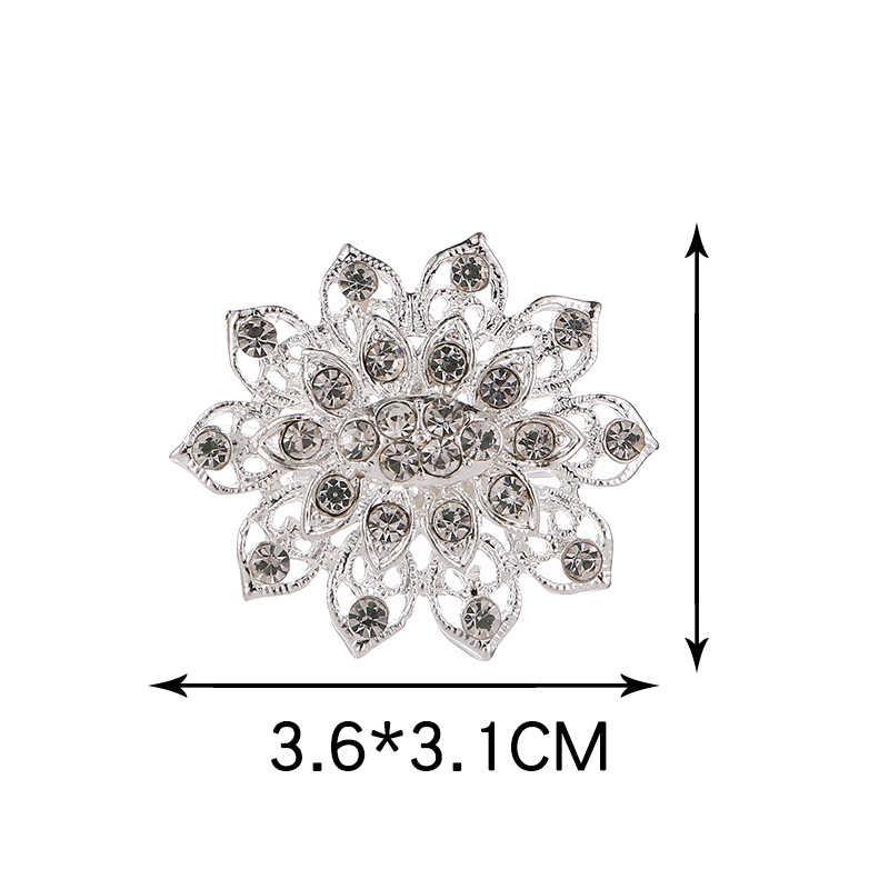 Bunga Bulat Hati Perak 10 Model Sweater Pengantin 1PC Gadis Lingkaran Pernikahan Kristal Berlian Imitasi Wanita Topi Rok Unik Bros
