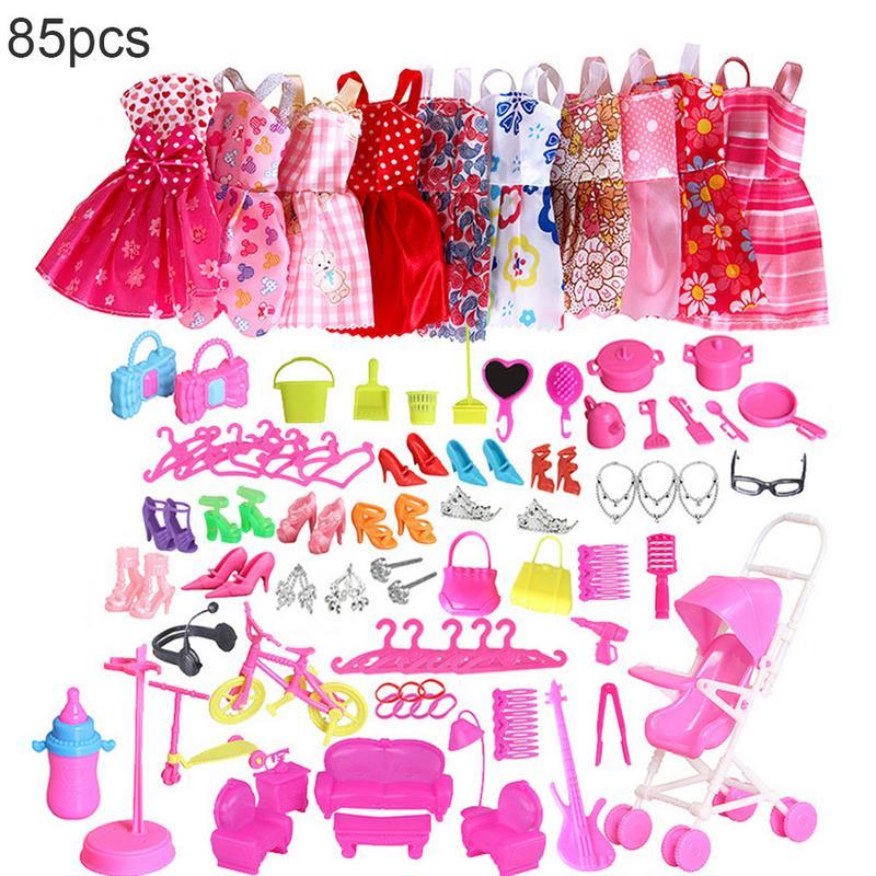 85pcs Dolls Clothes Dress Set Shoes Jewellery for Barbie Dolls Accessories Set