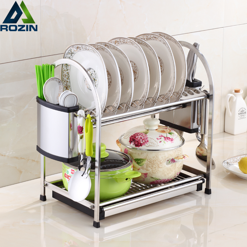 Deck Standing 2-Tier Dish Rack Holder Stainless Steel Drying Drainer Dish Cutlery Cup Rack Kitchen Organizer For Kitchen stainless steel sink drain rack