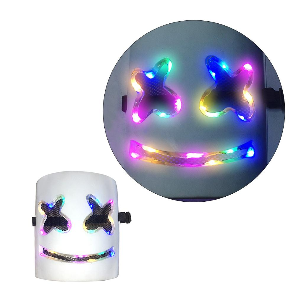 LED Marshmellos Helmet DJ Mask Light Up Neon Party Halloween Costume LED Marshmellos Helmet Mask Light Up Neon Party Halloween