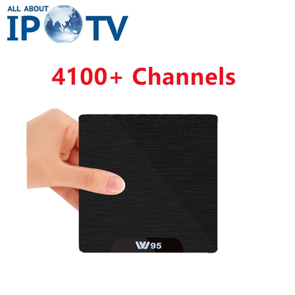 W95 Iptv Android Tv Box 4000 Channels Europe Arabic Code Usa Uk De It Turkey Brazil Belgarian African Spain French Pk Subtv
