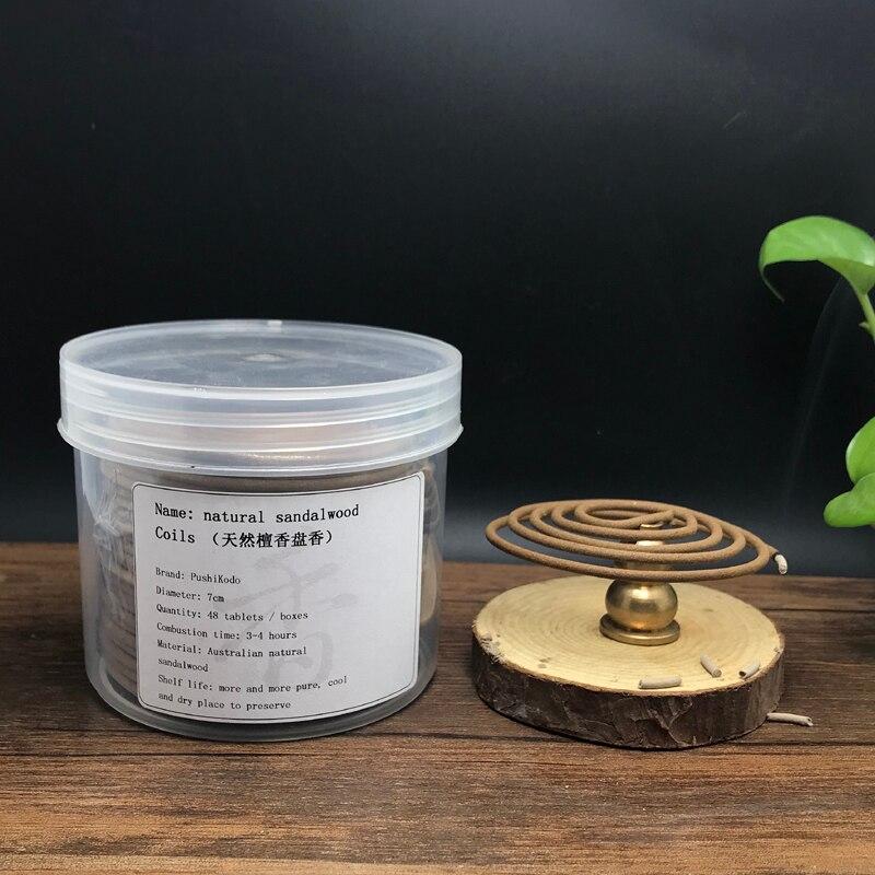 48pcs/box Buddha Incense  aglewood tibetan Natural Sandalwood Coil Indoors Buddhist Mosquito Repellent W $
