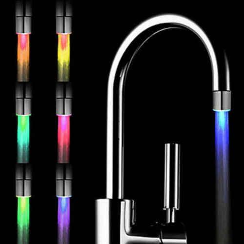 LED אור מים ברז ברז ראשי טמפרטורת חיישן RGB זוהר מקלחת זרם ברז אמבטיה 3 צבע שינוי ברז Aerators