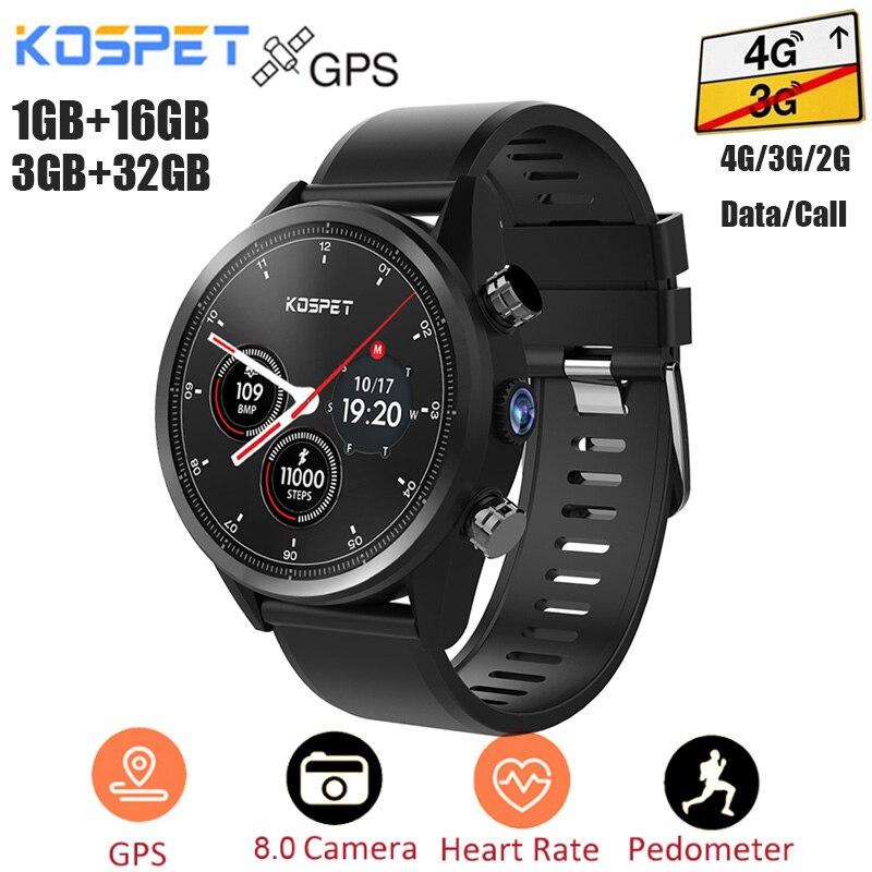 Kospet Hope 4G Smartwatch Android 7.1 GPS 3G + 32G/1G + 16G IP67 étanche téléphone montre MTK6739 Quad Core 8Mp caméra Sport hommes montre