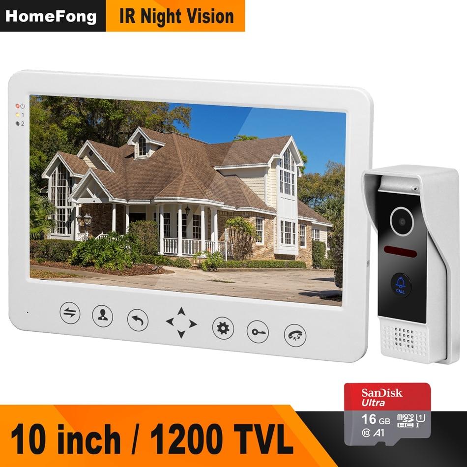 Vídeo Porteiro Campainha HomeFong 1200TVL IR Monitor Da Câmera HD Com 16G Suporte a Cartão de Memória Desbloquear CCTV videocitofono 10 pollici