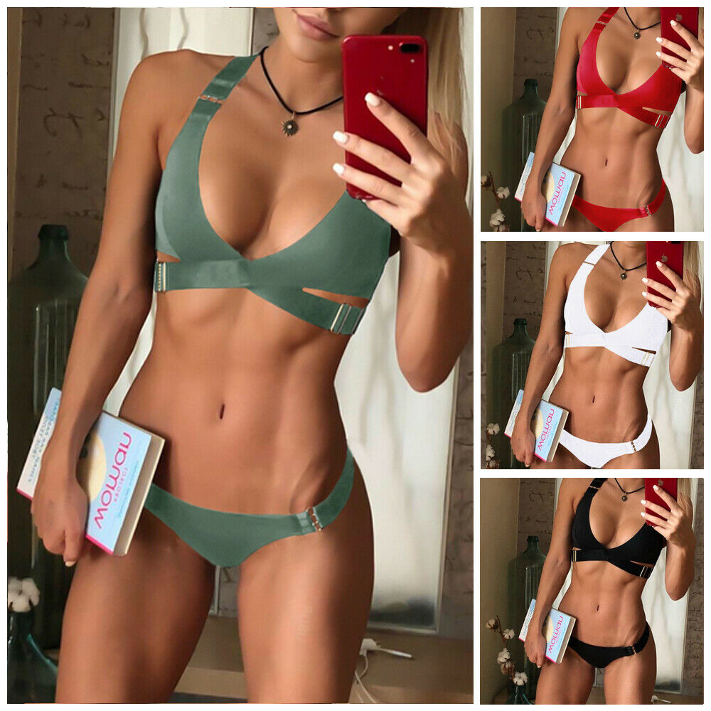 2019 New Style Fashion Hot Women''s Two-Piece Suits Solid Bandage Push-Up Low Waist Padded Swimwear Swimsuit Bathing Hot