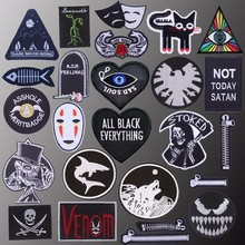 Punk Biker Patch Iron on Patches On Clothes Embroidered Letter For Clothing Rock Skull DIY Applique Badge