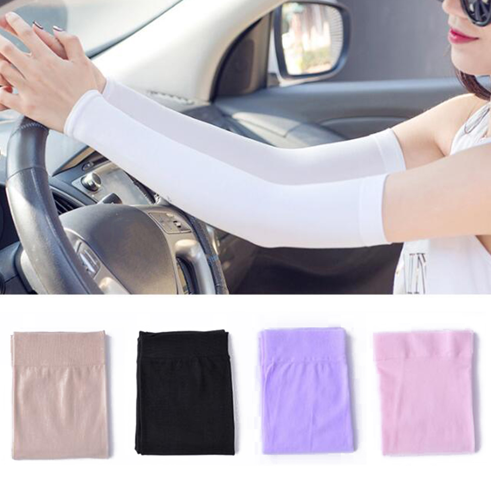 1 Pair Fashion Arm Warmers Hot Summer Solid Color Arm Sleeves Sun UV Protection outdoor Drive Sport Travel Arm Warmers Arm Cover