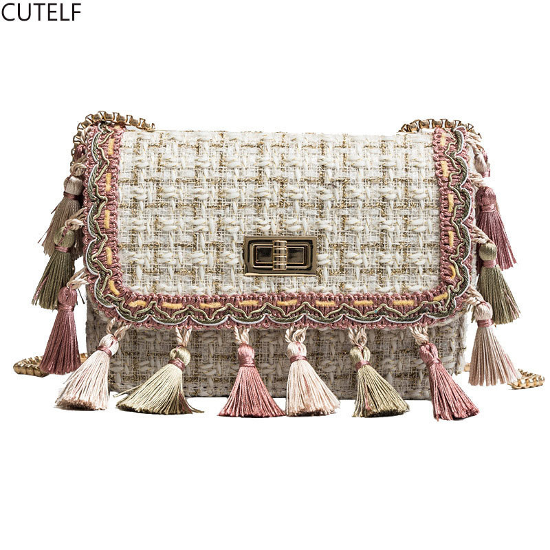 Wool Tassel Flap Clutches Bags For Women 2018 Girls Messenger Shoulder Bag  Ladies Party Luxury Handbags Designer Bolsa Feminina c5678ceb73