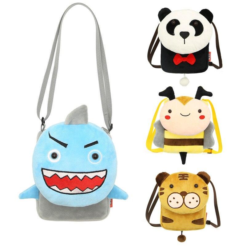 13 Stil Kinder Cartoon Tier Messenger Taschen Hohe Qualität Weiche Plüsch Kinder Taschen Mini Schule Taschen Zipper Flanell Sticken Klappe