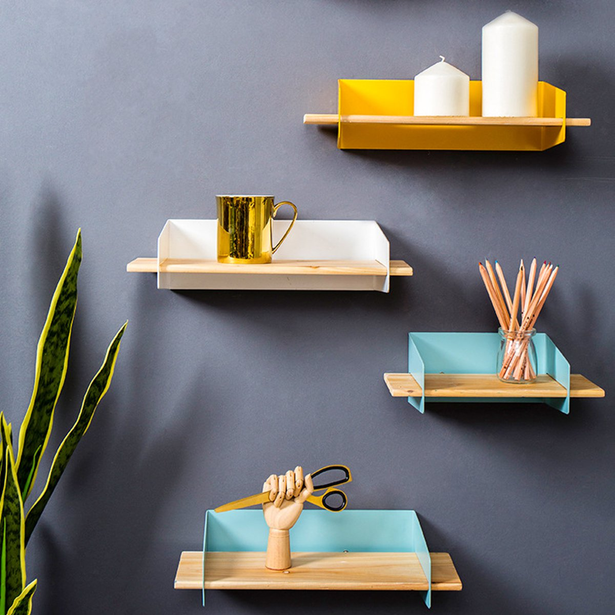 30X15X10cm Wooden Wall Shelf Wall Mounted Storage Rack Organization Bedroom Kitchen Home Decor Room DIY Wall Decoration Holder shelf