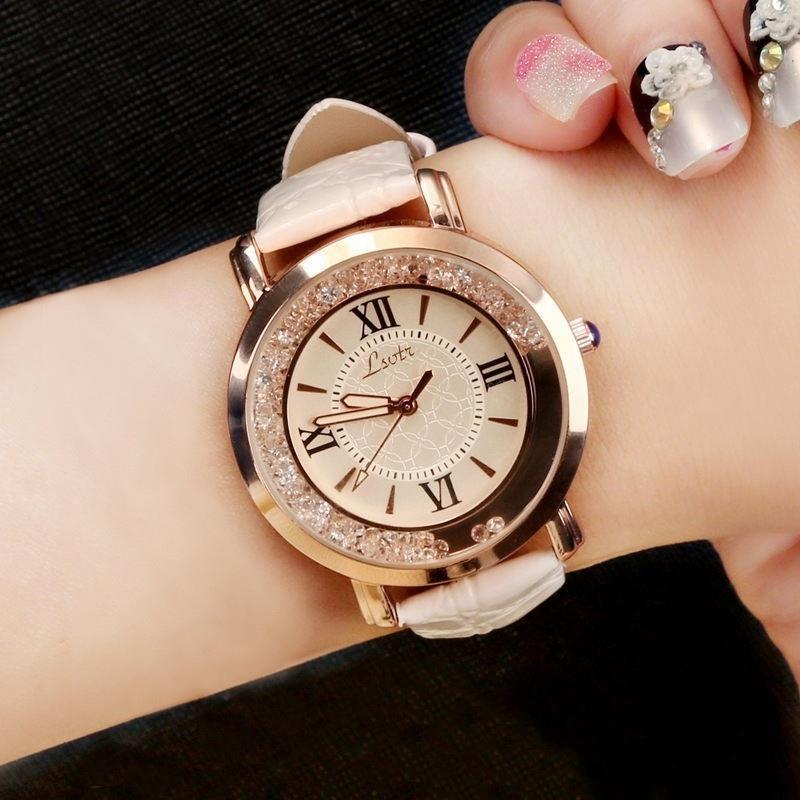 Women Fashion Diamond Watch Rhinestone Leather Band Stainless Steel Analog Quazrtz Wristwatch Lady Female Watches Horloges