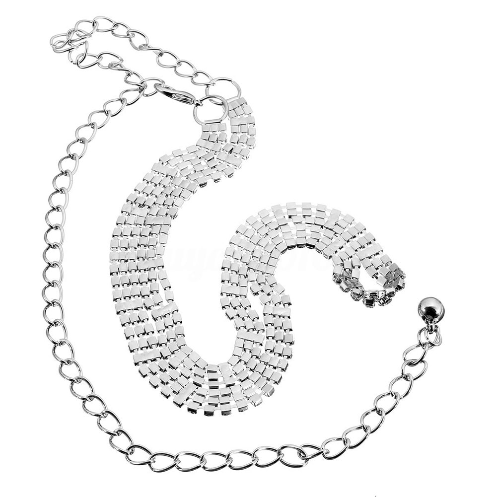 Fashion Ladies Women Waist Chain   Belt   in Silver 3 Row Rhinestones One Size