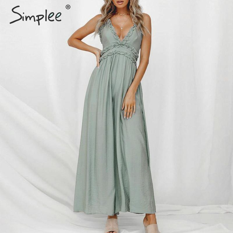 Simplee Sexy ruffled v-neck women long   jumpsuit   Elegant Spaghetti strap female   jumpsuit   romper Solid office ladies overalls