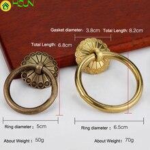 1 PC Antique ring shape brass handle Door Drawer Cabinet Wardrobe gold  Pull Handle Knobs furniture Hardware Wholesale
