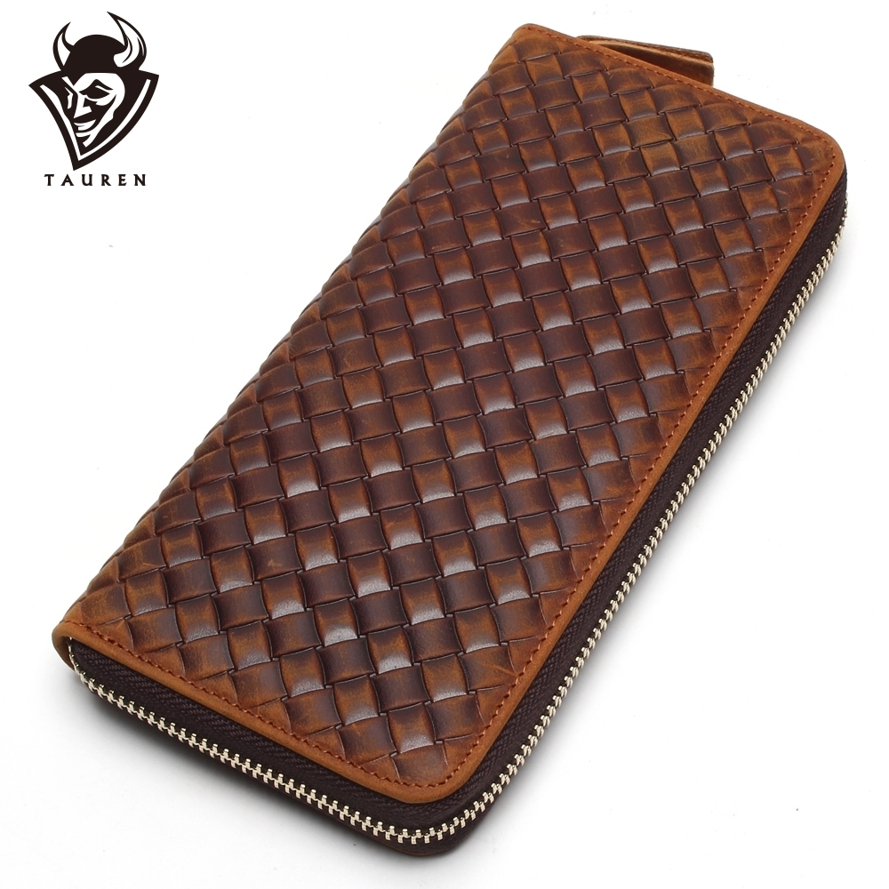 New Arrival Brand Weave Clutch Men Wallets Male Wallet Genuine Leather Long Purses Card Holder Coin Purse
