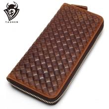 купить New Arrival Brand Weave Clutch Men Wallets Male Wallet Genuine Leather Long Purses Card Holder Coin Purse по цене 1310.02 рублей
