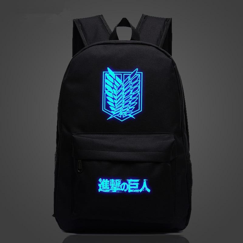 Japan Anime Attack on Titan Zipper Luminous Backpack Student School Bag Travel Galaxy Rucksack Outdoor Sport Bag Glow in Dark
