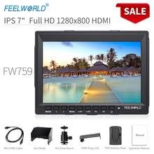 Feelworld FW759 7-дюймовый DSLR Камера поле монитор HDMI 4 K AV Вход ips HD 1280×800 ЖК-дисплей Дисплей видео помощь для sony Nikon Камера