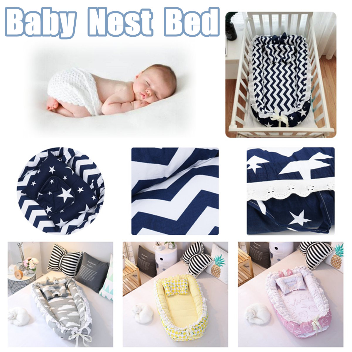 Portable Baby Nest Bed Crib Washable And Removable Crib Travel Bed For Children Infant Kids Pearl