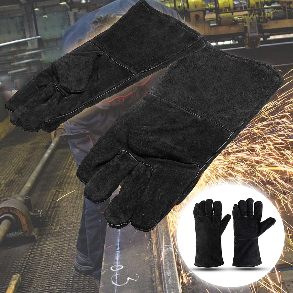 Safurance 32cm XL Heavy Duty Welding Gloves Stoves PU Leather Cowhide Protect Welder Hands Workplace Safety GloveSafurance 32cm XL Heavy Duty Welding Gloves Stoves PU Leather Cowhide Protect Welder Hands Workplace Safety Glove