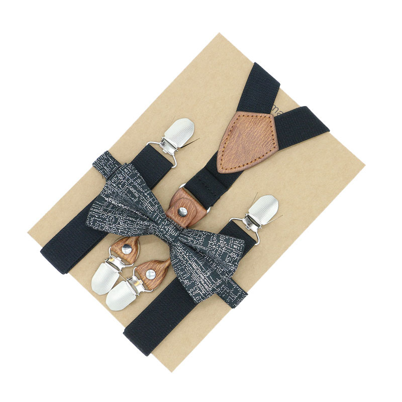 Boys Wedding Accessory Suspender Perfect Match Adjustable Noble Pattern Bow Tie Set Matching Outfits