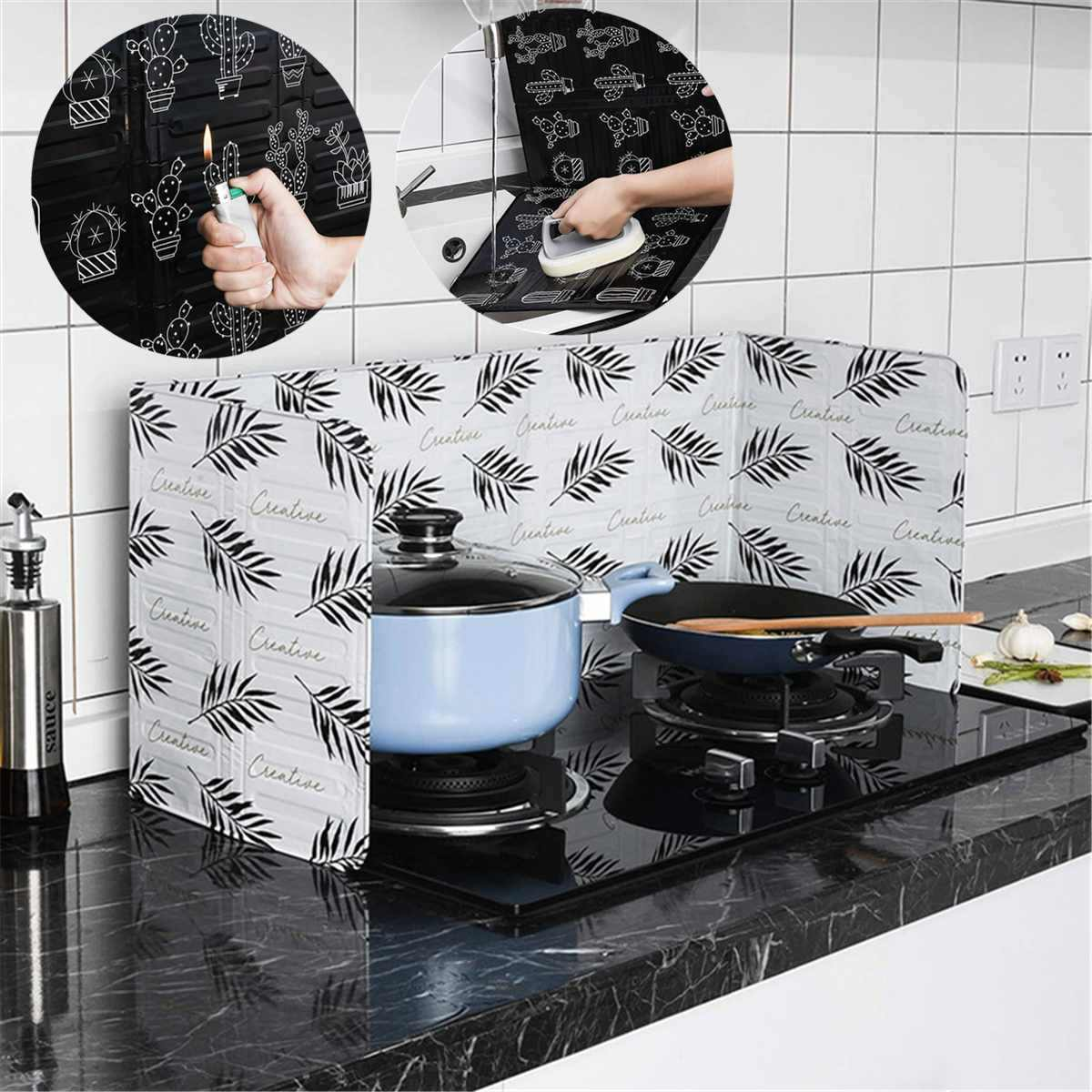 Kitchen Oil Baffle Plate 3 Sided Splatter Guard Stove Oil Heat Insulation Sheet Aluminum Foil Oil Splash Proof Cooking Tool