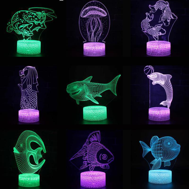 Shark 3d Led Lightnight Creative Shark Kids Table Led Lamp Hologram Illusion Bedroom Living Room 7 Colors Usb Led Light Lamp
