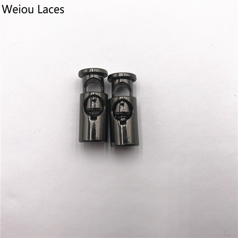 Weiou 2pcs/1Set Shoe Buckle Stoppers Shoelaces Metal Lock Zinc Alloy Single Hole Spring Buckle For Elastic Laces Rope Adjustment