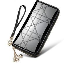 Купить с кэшбэком Korea Fashion Genuine Leather Wallet Women Wallets Ladies Long Purse Geometric Plaid Zipper Clutch Phone Purses With Wristlet