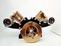 Изысканный v тип двойной цилиндр зажигание стерлингового двигателя металлическая модель Наука Образование Детские развивающие игрушки Бе