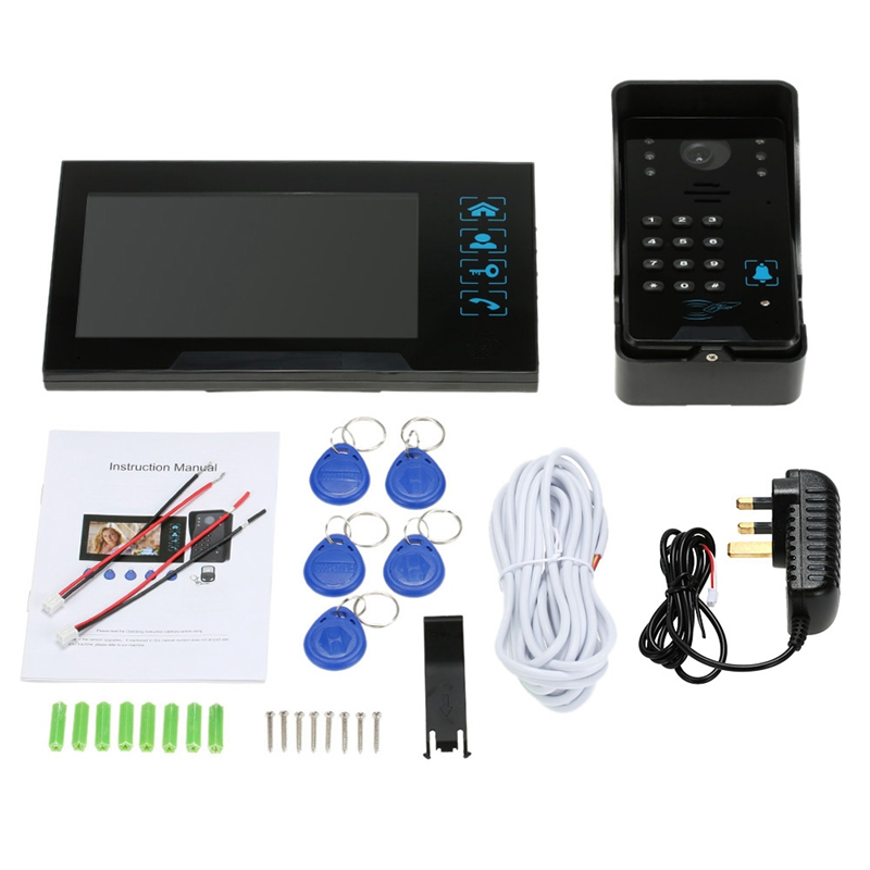 Clé de presse filaire 7 pouces vidéo porte téléphone interphone sonnette système Kit Vision nocturne 1 Rfid clavier Code Ir caméra + 1 moniteur