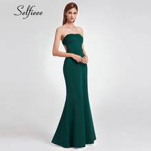 New Summer Green Dress 2019 Elegant Little Mermaid Strapless Long Formal Party Dress Evening Night Sexy Appliques Backless Dress