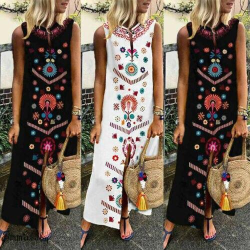 Women Boho Floral Long Maxi Dress Kaftan Holiday Beach Party Sundress Plus Size
