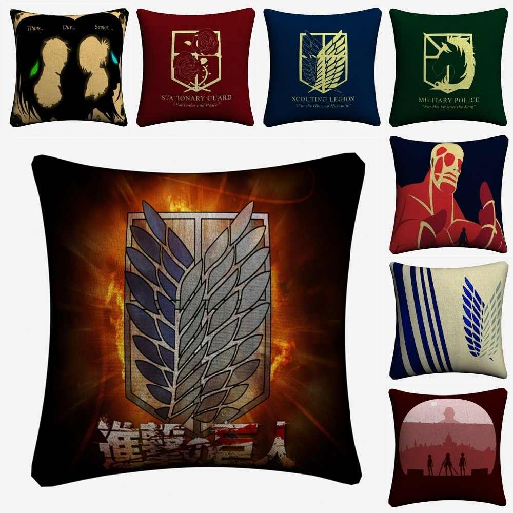 Attack On Titan Minimalist Figures Decorative Cotton Linen Cushion Cover 45x45cm For Sofa Chair Pillow Case Home Decor Almofada