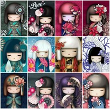 Huacan Japanese Doll Diamond Painting Full Square Rhinestones Pictures Embroidery Cartoon DIY Mosaic Sale