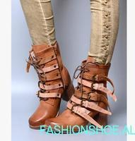 fashion Women's boots British style square chunky heel strap buckles ankle boots strap Knight woman boots chunky heel