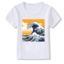 Wave mural printing Girl Shirt summer fashion Women T novelty casual Tops hipster cool ladies Tee