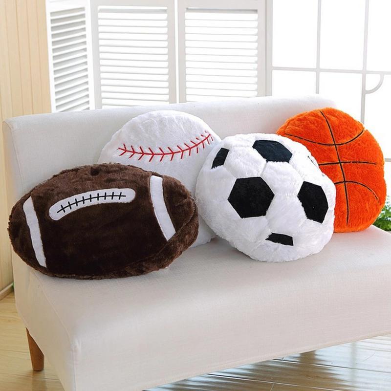 Creative Soccer Ball Shaped Pillow Fluffy Stuffed