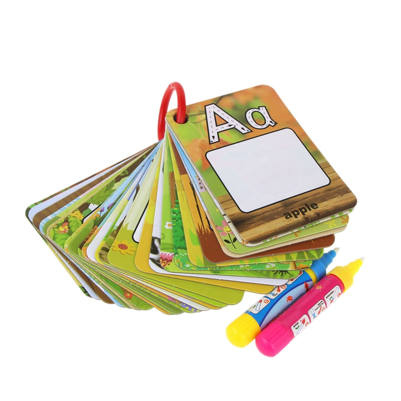 Water Drawing Card 26 Alphabet Coloring Book & 2 Magic Pen Letter Card Painting Board Educational Toys For Kids