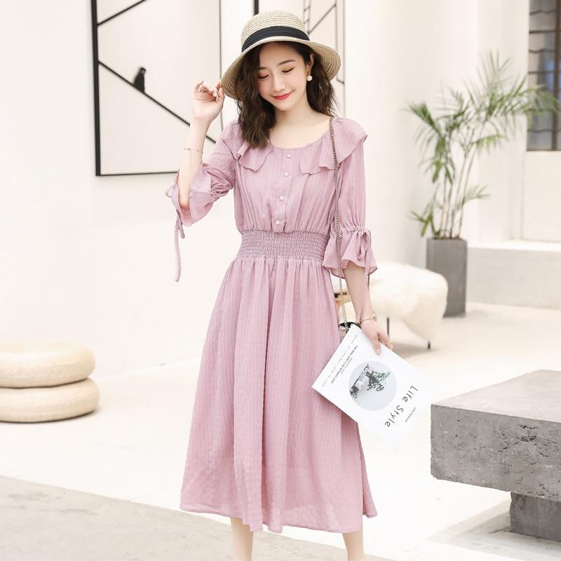 2019 summer pregnant women dress flare half sleeve peter pan collar stretched waist maternity empire dress sweet chiffon dress 11