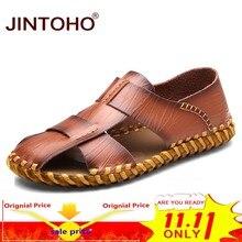 7e9f0e2074 JINTOHO Sandálias Designer de Moda Genuínos Homens de Couro Sandálias  Masculinas Sandálias de Verão Sapatos de