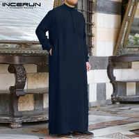 Herren Kleidung Robe Langarm Saudi Arabischen Thobe Jubba Thobe Mann Kaftan Nahen Osten Islamischen Jubba Thobe Muslimische Dressing S-5XL