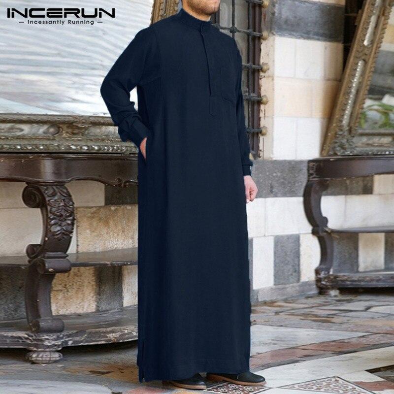 Mens Roupas Jubba Robe Manga Comprida Arábia Thobe Árabe Thobe Homem Kaftan Oriente médio Jubba Islâmico Thobe Muçulmano Vestir S-5XL