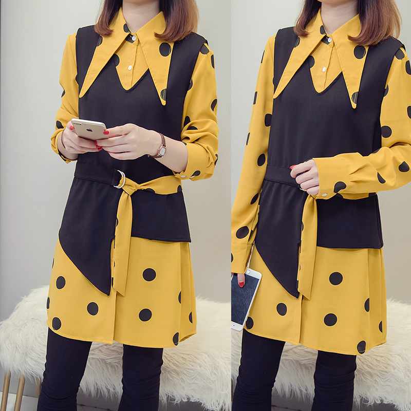 XL-5XL Plus Size Women Tops Autumn 2018 Vintage Polka Dot Print Long Sleeve Yellow Shirts and Knitted Vest Two Piece Set 4